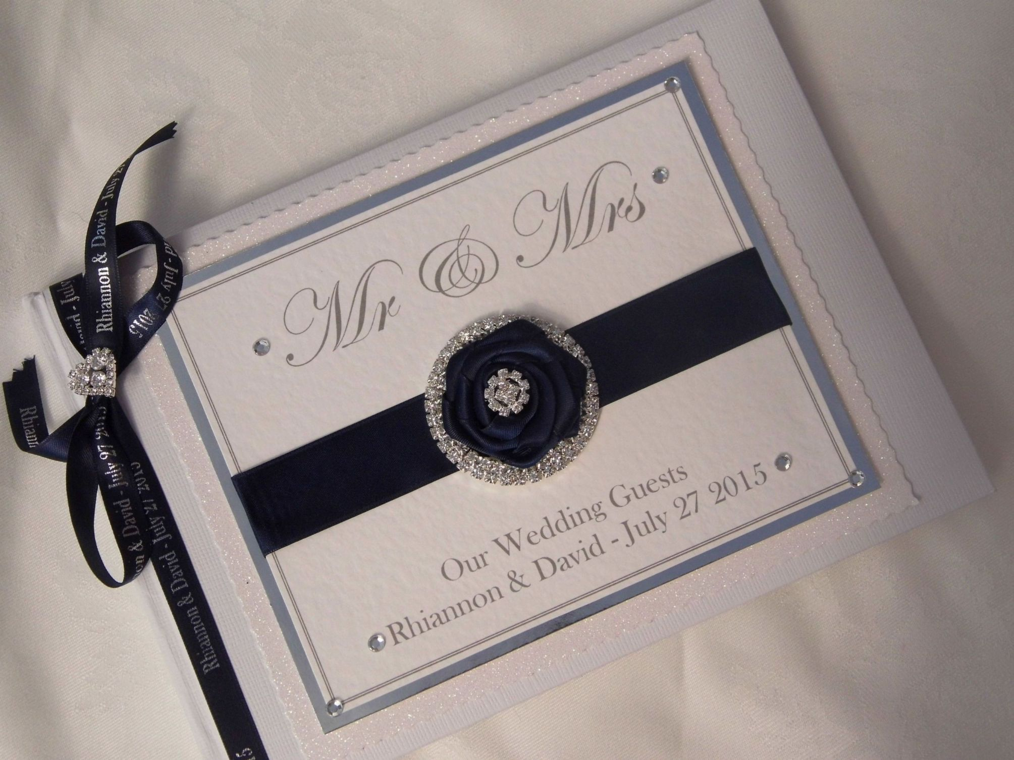 personalised wedding guest book   mr amp mrs
